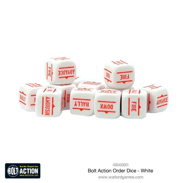 Bolt Action Orders Dice White (12)