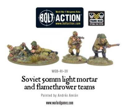 Soviet 50mm light mortar and Flamethrower teams