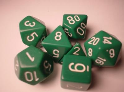 Chessex RPG Dice: Green/White Opaque Polyhedral 7-Die Set