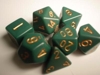 Chessex RPG Dice: Green/Copper Dusty Opaque Polyhedral 7-Set