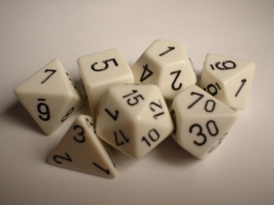 Chessex RPG Dices: White/Black Opaque Polyhedral 7-Die Set