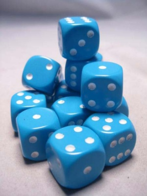 Chessex Dice Sets: Light Blue/White Opaque 16mm d6 (12)