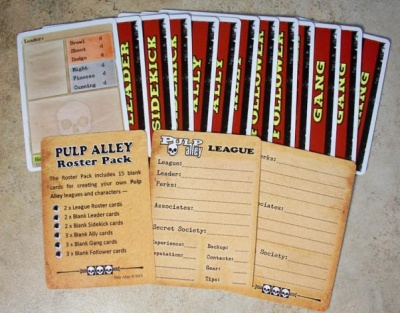 PULP ALLEY: Blank Character Cards