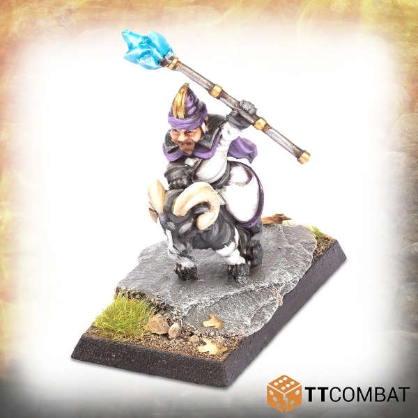 Halfling Goat Rider Light Wizard