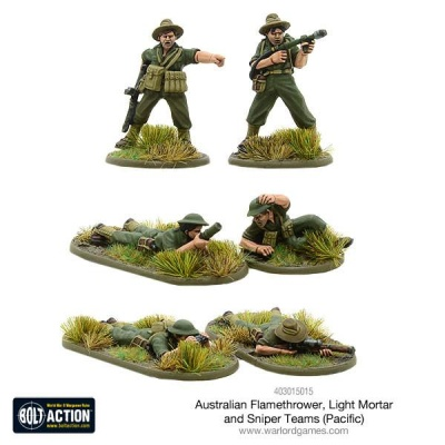 Australian flamethrower, light mortar and sniper teams