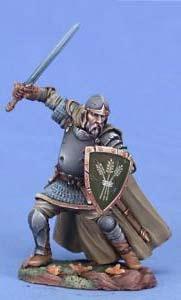 Erfahrener Kämpfer mit Langschwert und Schild