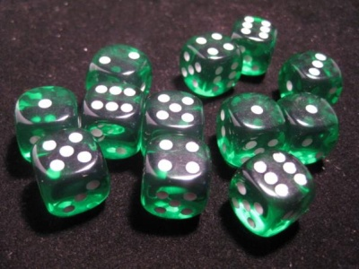 Chessex Dice Sets: Green/White Translucent 16mm d6 (12)