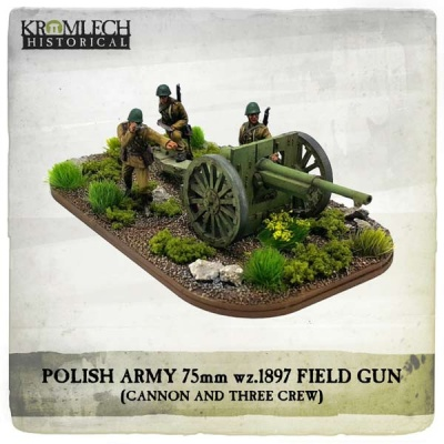 Polish Army wz.1897 Schneider 75mm field gun with crew