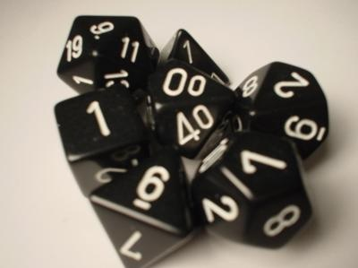 Chessex RPG Dice: Black/White Opaque Polyhedral 7-Die Set