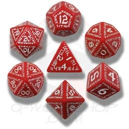 Red & White Runic Dice (7)