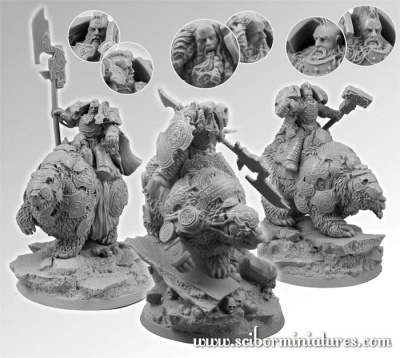 28mm Celtic SF Bears Riders set (3)
