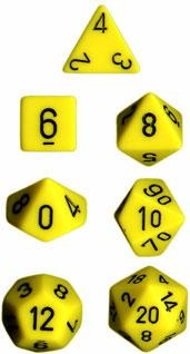 Chessex RPG Dices: Yellow/Black Opaque Polyhedral 7-Die Set