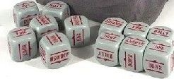 Bolt Action Orders Dice - Grey with red writing(12)