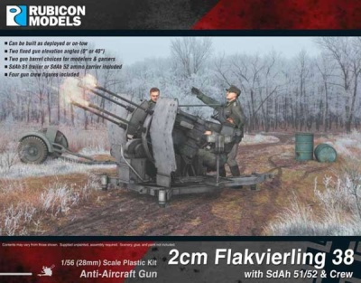Rubicon 28mm 2cm Flakvierling 38 SdAh 51/52 Trailer & Crew