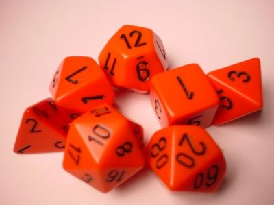Chessex RPG Dices: Orange/Black Opaque Polyhedral 7-Die Set