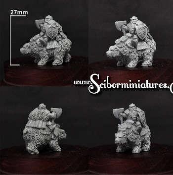 15mm Dwarf Lord on War Bear
