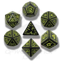 Black & Yellow Runic Dice (7)