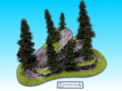 Geländestück gebrochene Felsen