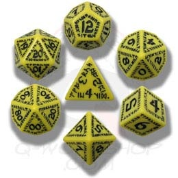 Yellow & Black Runic Dice (7)