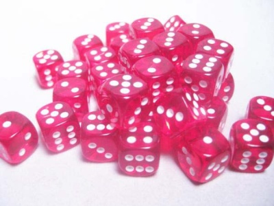 Chessex Dice Sets: Red/White Translucent 12mm d6 (36)
