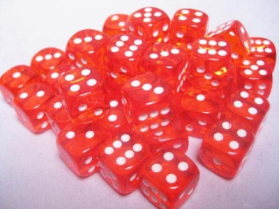 Chessex Dice Sets: Orange/White Translucent 12mm d6 (36)