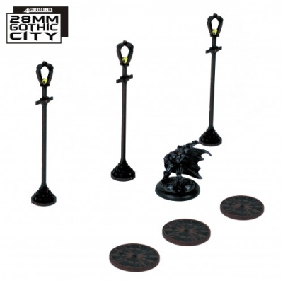 Sewer Cover Type A and 3x Lamp Post Type A (3)