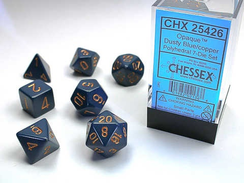 Chessex RPG Dice: Dusty Blue/Copper Opaque Polyhedral 7 -Set
