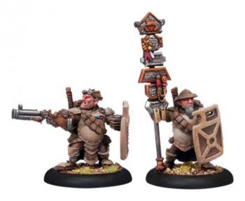 Mercenary High Shield Gun Corps Officer & Standard (2 models