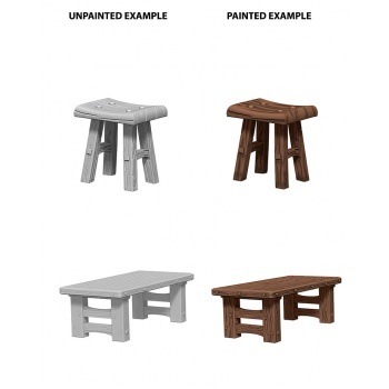 Wooden Table & Stools