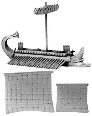 Hellenistic Quinquereme (furled & set main and fo