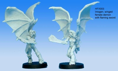 Imogen, winged Demon with flaming Sword