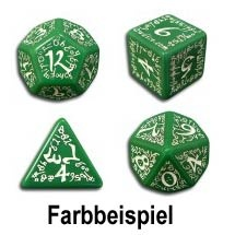 Green & White Elvish Dice (7)