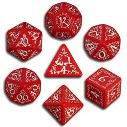 Red & White Elvish Dice (7)