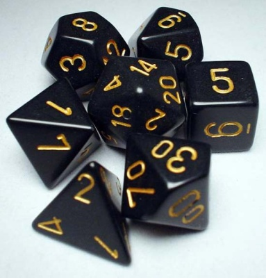 Chessex RPG Dice: Black/Gold Opaque Polyhedral 7-Die Set