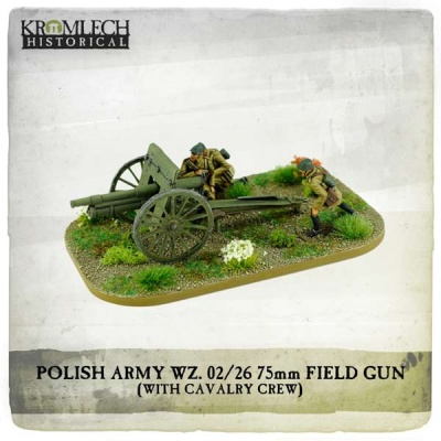 Polish Army wz.02/26 75mm field gun with Cavalry crew (canno