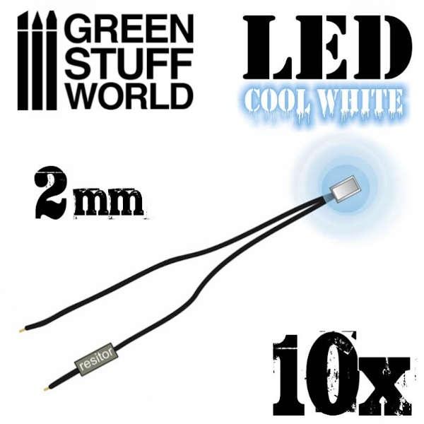 Cool White LED Lights - 2mm (10)