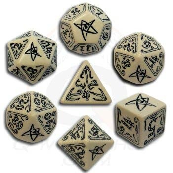 Beige & Black Call of Cthulhu Dice (7)