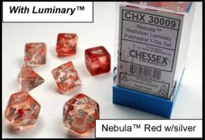 Chessex Polyhedral 7-Dice Sets: Nebula Red w/silver