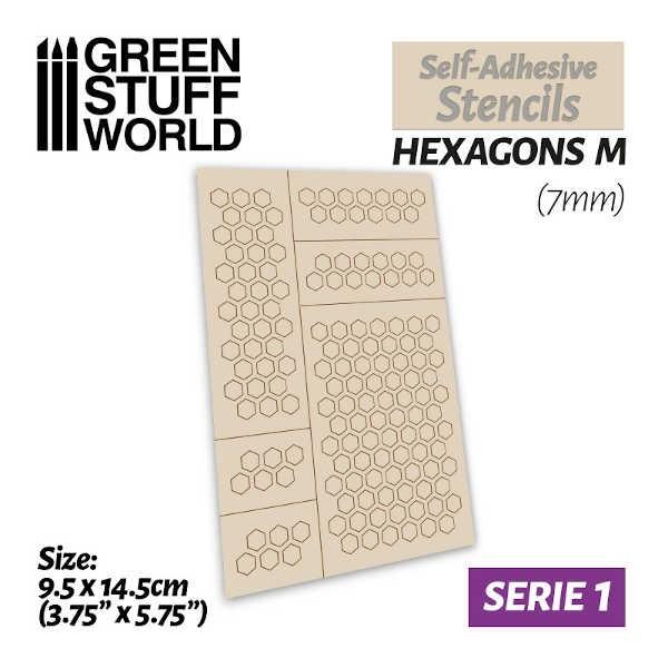Self-adhesive stencils - HEXAGONS M (7mm)