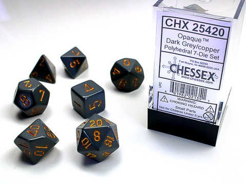 Chessex RPG Dice: Grey/Copper Dusty Opaque Polyhedral 7- Set