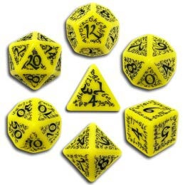 Yellow & Black Elvish Dice (7)