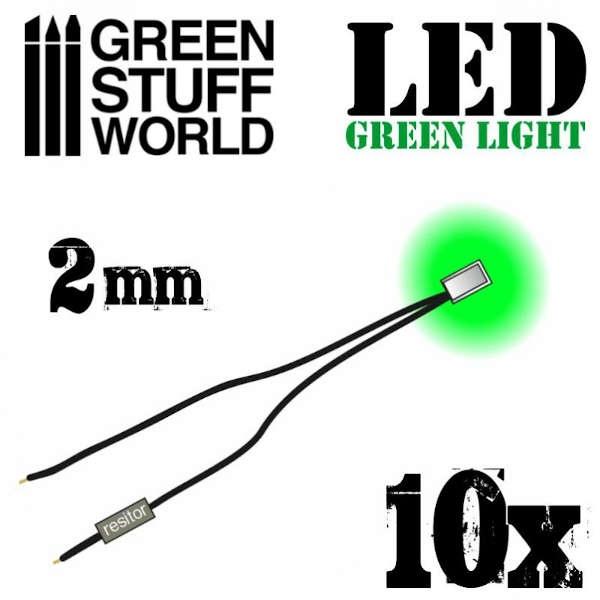 Green LED Lights - 2mm (10)
