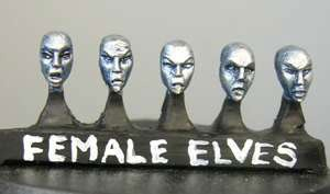 Elf female heads (a) Sprue of 5 (5)