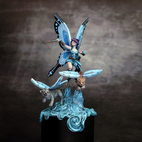 Ali the Fairy with Winged Cats Diorama