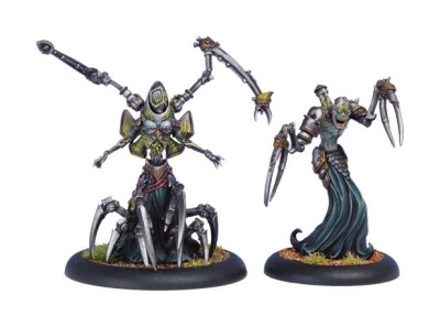Cryx Warcaster & Solo Master Necrotech Mortenebra and Deryli