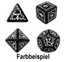 Black & White Elvish Dice (7)