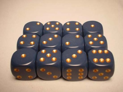 Chessex Dice Sets: Blue/Copper Dusty Opaque 16mm d6 (12)