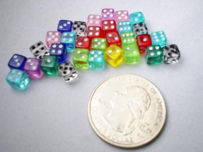 Mini Dice: Assorted Translucent 5mm d6 (30)