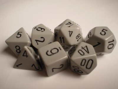 Chessex RPG Dice: Dark Grey/Black Opaque Polyhedral 7-Dice