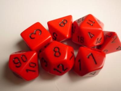 Chessex RPG Dice: Red/Black Opaque Polyhedral 7-Die Set
